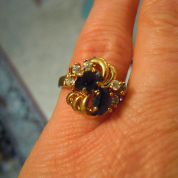 Uncas Sapphire Ring 14K GE Gold Plated Vintage