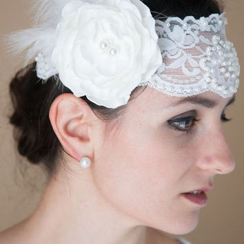 Rose - White Romantic Lace, Pearls, Flower, and Feathers Vintage Inspired Bridal Headband, Wedding Headband, 1920s, Bride, OOAK