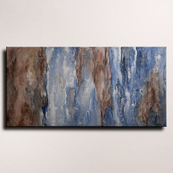 Large Original Textured Abstract Painting on Canvas Contemporary Modern Art Blue Brown shabby painting Wall Hanging wall decor home decor