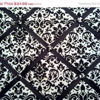 Black and White Damask Print French Memo Board  by debbieshine