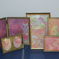 Vintage gold metal picture frame collection - Picture frame set, antique picture frames, gold decor, wedding frames, table numbers