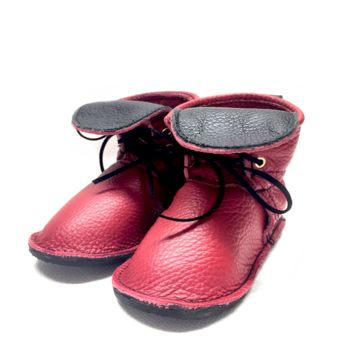 Red genuine leather high top moccasins with laces mini boots with rubber or soft sole