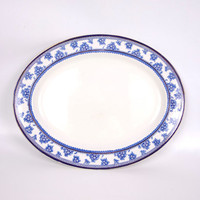 Antique Flow Blue 14 Inch Oval Serving Platter Torbrex Pattern Stanley Pottery Co Cobalt Blue Floral Greek Key Design Gold Edge