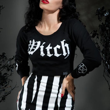 Witch Crop Sweater in Black
