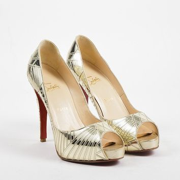 DCCK Christian Louboutin Gold Leather Mirrored   Very Galaxy   Pumps