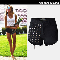 Sexy Women Girl Summer High Waist Ripped Hole Wash Denim Jeans Shorts Pants = 4721866628