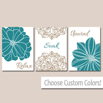 BATHROOM DECOR Wall Art Canvas or Print Flower Home Bathroom Pictures Teal Brown Relax Soak Unwind Quote Words Flower Artwork Set of 3