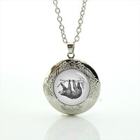 High Quality Sloth Round Locket Necklace