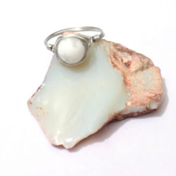 Wire wrap howlite ring