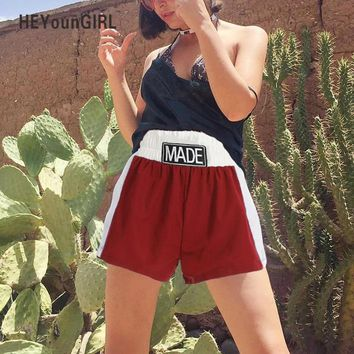 HEYounGIRL Ruffles Harajuku Women Shorts Embroidery Letter High Waist Casual Loose Short Shorts Patchwork Red White Short Pants
