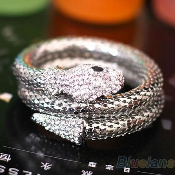 Vintage Retro Punk Rhinestone Curved Stretch Snake Cuff Bangle Bracelet