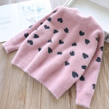 Baby Sweater christmas Girls Sweater pink embroidery long sleeve Kids Clothes For Girl pullover children New Year Costume