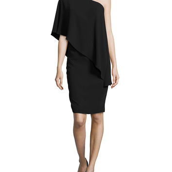 Women's One-Shoulder Cape Cocktail Dress, Black - Carmen Marc Valvo - Black