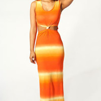 Adriana Ombre Knot Front Maxi Dress