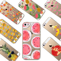 Cover For Iphone 5 5S SE New Hot Sale Delicious Watermelon Pattern TPU Soft Phone Back Case Fruit Case