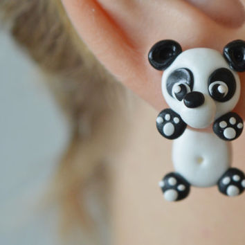 cute panda earrings,kawaii front back earrings,double sided earrings,dog earrings,animal ear jackets,two part earrings,clinging earring
