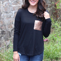 Sequin Pocket Long Sleeve Top {Black}