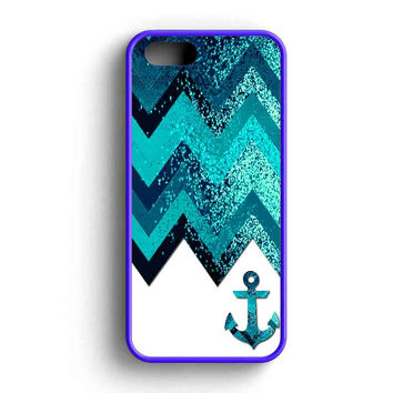 Chevron Navy Anchor Sparkly iPhone 5 Case iPhone 5s Case iPhone 5c Case