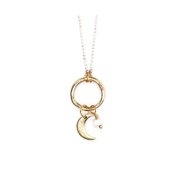 Crescent Moon Necklace Pearl