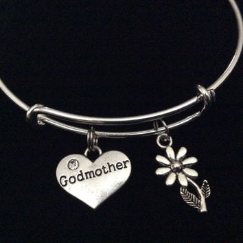 Godmother and Daisy Charm Silver Expandable Bracelet Adjustable Bangle Trendy Stacking Handmade God Mother