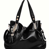 Black Hobo Crossbody Handbag