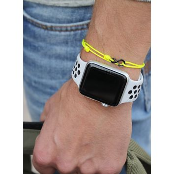 Infinity Bracelet - Neon Yellow cord men's bracelet with black clasp
