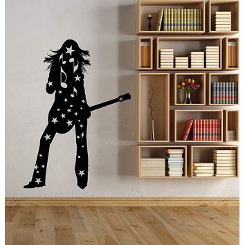 Vinyl Wall Decal Silhouette Girl With Guitar Player Rock Star Stickers (3108ig)