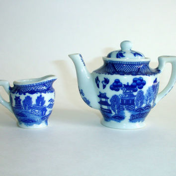 Vintage Miniature Blue Willow Ware Teapot and Creamer, Blue and White, Japan, Small Childrens Childs Tea Set Pot, Asian Oriental Japanese