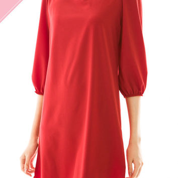 Solid Round Neck Dress w/ 3/4 Sleeves - Red *MADE IN USA*