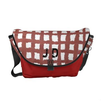Uneven Red Gingham Messenger Bag