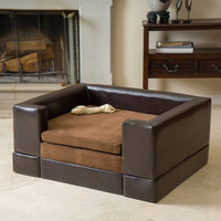 Rover Large Chocolate Brown Leather Dog Sofa Bed