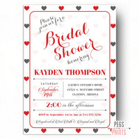 Queen of Hearts Bridal Shower Invitation - Valentine Bridal Shower Invites - Heart Bridal Shower Invitation - Valentines Day Bridal Shower