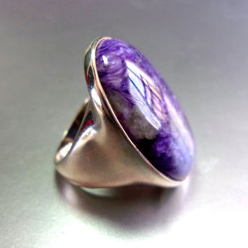 Oval Purple Charoite Sterling Silver Ring, Huge, Vintage sz 7