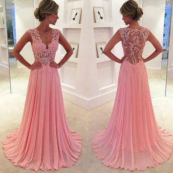 vestido de noiva  2016 Long Prom Dresses Sleeveless Sexy V-neck Chiffon Lace Pink Party Evening Gowns For Women Formal Dresses
