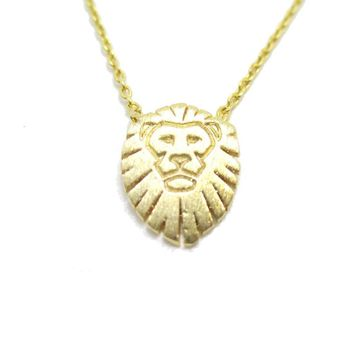 Lion King Shaped Animal Charm Necklace in Gold | Animal Jewelry