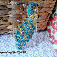 GREENISH BLUE Rhinestone PEACOCK - iPhone 4 Case, iPhone 4s Cover