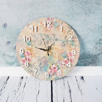 READY TO SHIP Romantic shabby chic pastel flowers decoupage wooden wall clock gift idea for her delicate