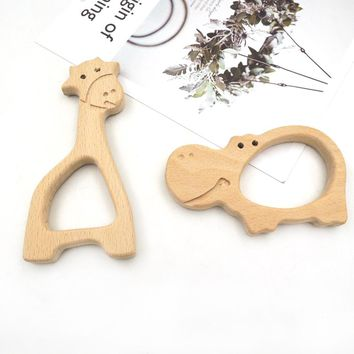 10pcs 98mm big hippo shape  beech pendent 120mm GIRAFFE WOODEN TEETHER hand carving animal teether  baby wood teether EA335
