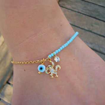 Evil Eye Beaded Monkey Charm Bracelet
