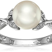 Sterling Silver, Freshwater Cultured Pearl, and Diamond Ring, Size 7