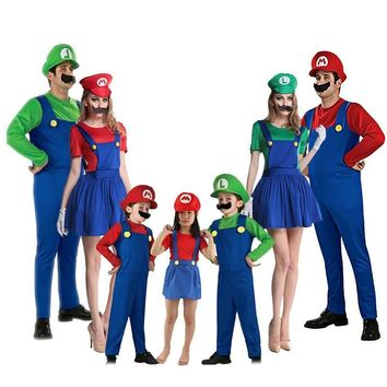 Super Mario party nes switch Halloween  Bros Cosplay Costume Parent-child Cute Plumber Luigi Brother Costume Kids Adult Funny Party Game Wear 90 AT_80_8
