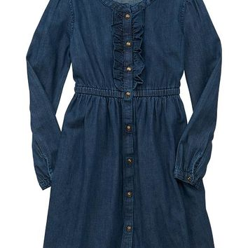 Gap Girls Factory Ruffle Denim Dress