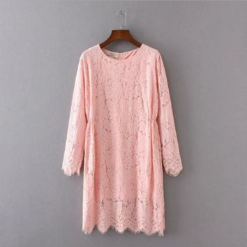 Pink  Loose  lace dress  B0016409