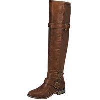 Womens Knee High Boots Buckle Strap Accents Casual Riding Shoes Tan SZ