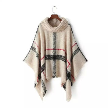 Plaid Turtle Neck Sleeve Knitted Cape Shirt
