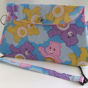 Care Bears Clutch Purse with Chain Strap / Funshine Bear / Best Friend Bear / Cheer Bear
