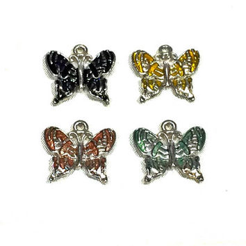 butterfly charm, 18mm x 18mm, silver metal alloy with enamel - C113