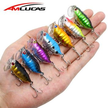Amlucas 4cm 3.8g Cicada Fishing Lure Perch Insect Baits Treble Hook Fishing Bait iscas artificiais Crankbait Fishing Tackle WW38