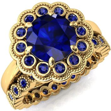 Zinnia Round Blue Sapphire 8 Prongs Milgrain Halo Accent Blue Sapphire Ring