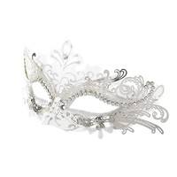 Coxeer Laser Cut Metal Lady Masquerade Halloween Mardi Gras Party Mask (White & Silver)